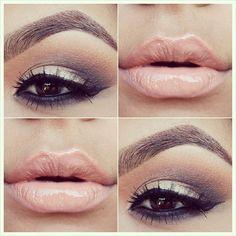 Nude lip and gold smokey eye