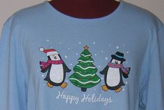 Woman Holiday Editions Christmas Knit Top Penguin Happy 100% Cotton LS XXL 2XL  #HolidayEditions #TShirt #Casual