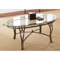 Maison Glass-top Oval Coffee Table