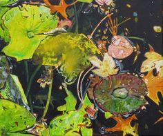 Kirsten Treis: poppelsdorfer weiher 3. Acryl auf Leinwand #Gemälde #Malerei #Acryl #Seerosen #Manet #Bonn #PoppelsdorferWeiher #poppelsdorf #Reflexion #Herbst #Teich #kirstentreis #startyourart www.startyourart.de