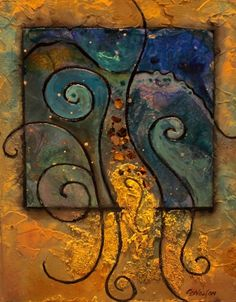 Beach Patterns mixed media abstract Carol Nelson Fine Art -- Carol Nelson