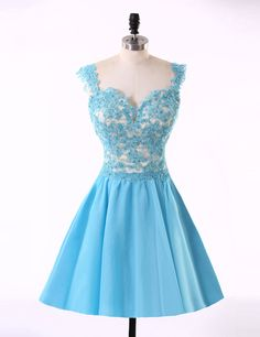 Sky Blue Lace Satin Short Mini A-line Backless Homecoming Dresses UK1314