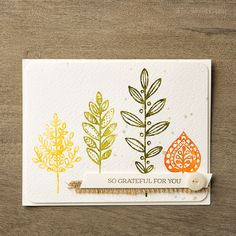 Add a spritz of water to create a fun watercolored look to your stamped images. This card features the Lighthearted Leaves stamp set.