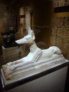 Recumbent Jackal God Anubis    Ancient Egypt, Saqqara  Dynasty 26-30 664-332 BCE   Limestone    Metropolitan Museum of Art