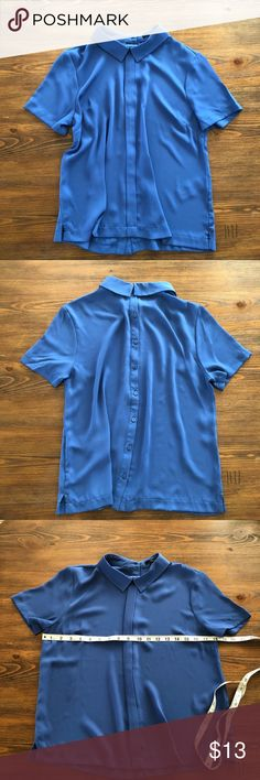 "Contemporary Blouse Columbia blue  Figure draping collared blouse with 8-button back closure. Measures from shoulder to hem 21""  Worn and washed once. Forever 21 Tops Blouses"