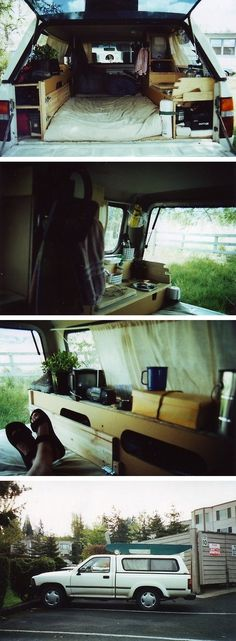 """I took a 7 week coast-to-coast road trip after being laid off.t have a camper but realized that being able to pull off the road at a rest or truck stop was the way to go to make the trip affordable. With a few sheets of plywood and misc. Auto Camping, Camping Diy, Truck Bed Camping, Camping Hacks, Outdoor Camping, Camping Ideas, Rv Hacks, Camping Stove, Minivan Camping"