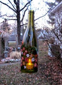 Wine bottle garden light