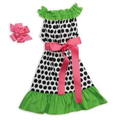 Girls just wanna have fun.  Lolly Wolly Doodle PARTY dresses!  Black Dot Green Ruffle Neck Dress.