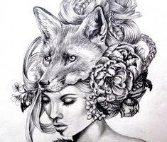 Illustration- Fox mask- Black and white- 8 X10 signed print- woman portrait