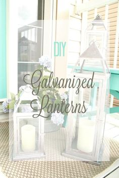 Painting large galvanized lanterns for outdoors is a great way to repurpose for the summer porch or patio.