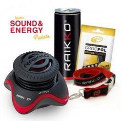 Sound & Energy Paket M   beinhaltet:  1 RAIKKO® NANO Vacuum Speaker  + 1 RAIKKO® Energy Drink  + 1 RAIKKO® Lanyard  + 1 Gutscheincode für eine passgenaue Displayschutzfolie von CROCFOL