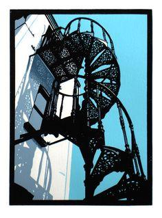 'Spiral Stairs, Aldeburgh Beach' linocut by Graham Spice. http://spicelinoprints.co.uk/ Tags: Linocut, Cut, Print, Linoleum, Lino, Carving, Block, Woodcut, Helen Elstone, Industrial, Staircase
