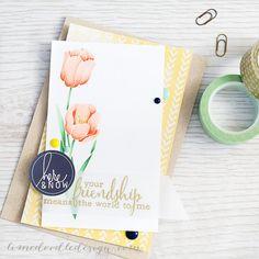 http://limedoodledesign.com/2015/02/your-friendship/ Debby Hughes - Lime Doodle Design #card #tulip #flower #friend