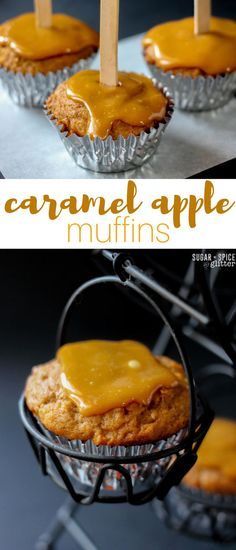 Caramel Apple Muffins - oh, these look like a delicious fall snack recipe that's just decadent enough. All of the flavour of a caramel apple in a muffin!