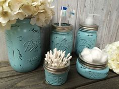 ***YOU PICK YOUR COLOR***    Add a touch of rustic charm to your bathroom or kitchen with our adorable hand-painted mason jar sets. Each of
