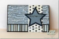 card envelope star stars communion confirmation of faith, invitation, - kort invitation konfirmation, stjerne stjerner Card Envelopes, Diy Cards, Diy And Crafts, Faith, Scrapbook, Stars, Projects, Project Ideas, Frame