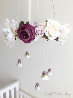 Royal purple nursery flower mobile, crib mobile, baby girl mobile, hanging wreath, floral chandelier for h Floral Chandelier, Diy Chandelier, Mobile Chandelier, Iron Chandeliers, Hanging Mobile, Nursery Room, Nursery Decor, Baby Decor, Room Baby