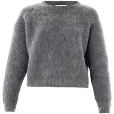 STELLA MCCARTNEY Textured wool-mohair sweater (265 CAD) ❤ liked on Polyvore featuring tops, sweaters, jumpers, shirts, grey, knitwear, wool sweater, cropped sweater, gray long sleeve shirt and loose long sleeve shirt