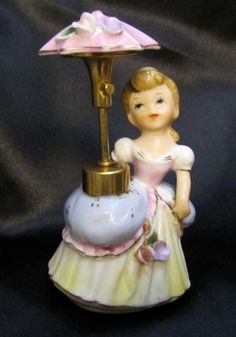 Vintage DEV Girl with Umbrella Atomizer Perfume...I have one of these very similar...she's so cute !!