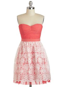 so me!   Goodie Gazebo Dress - White, Solid, Lace, Party, Vintage Inspired, Empire, Strapless, Spring, Chiffon, Mid-length, Coral, Sweetheart, Prom, Daytime Party