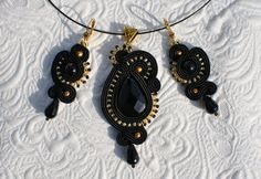 Soutache set Soutache jewelry Black -Gold jewelry by enecon on Etsy