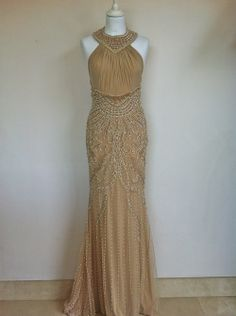 Doly Couture Beige Beaded Evening Dress Size 36 via The Queen Bee. Click on the image to see more!