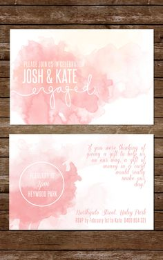 Watercolour Engagement Party Invitation, Peach wedding, summer wedding invitation by RMcreative on Etsy https://www.etsy.com/listing/220344034/watercolour-engagement-party-invitation
