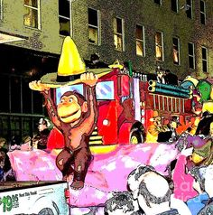 This posterized image of Curious George was a float in the 2013 Crewe of Columbus Mardi Gras parade in Mobile, Alabama. Original photo taken and edited by Marian Bell. Find it for sale at:    http://www.fineartamerica.com/shop/marian-bell.html