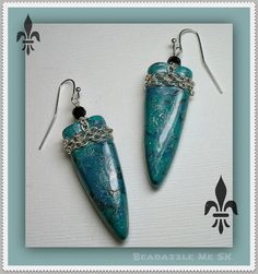 Turquiose Dagger & Chain Drop Earrings polymer clay by BeadazzleMe, $12.00