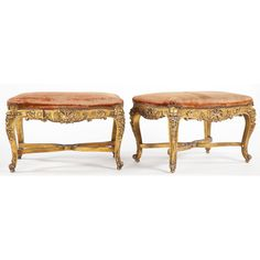 Pair of Louis XV Style Gilt Wood Benches Sold $3,000.