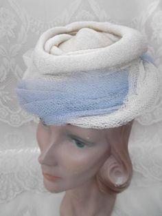 Vintage 1930s Hat Tilt Off White Light Blue Tulle Pasadena Hats Old Hollywood Art Deco