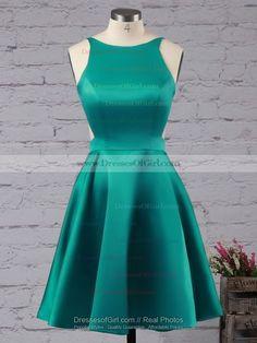 Simple A-line Scoop Neck Satin Short/Mini Backless Prom Dresses