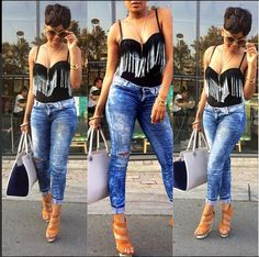 minnie dlamini in jeans images Tm Logo, Abs Workout For Women, Knit Shorts, Me On A Map, Sheath Dress, Camisole Top, Street Style, Tank Tops, Jeans