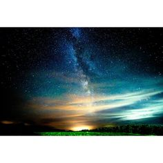 Glowing clouds and Milky way ❤ liked on Polyvore featuring backgrounds
