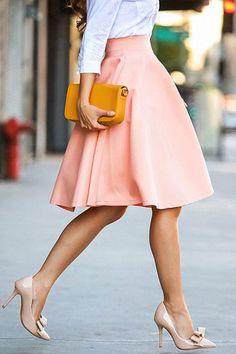 Estilo Lady like Jupe Midi Style, Jupe Midi Rose, Midi Skater Skirt, Midi Skirts, Flared Skirt, Full Skirts, Long Skirts, Cheap Skirts, Modest Clothing