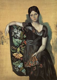 "Picasso, ""Olga in an Armchair"" 1917. Ballets Russes dancer Olga Koklova #flowers #DanceFashion"