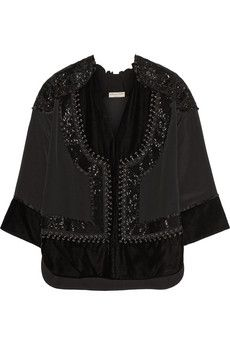 Emilio Pucci Leather-trimmed embellished satin top | NET-A-PORTER