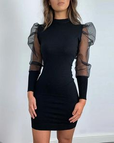 Solid Mock Neck Puff Sleeve Mesh Insert Bodycon Dress, Source by dress casual Mode Outfits, Dress Outfits, Casual Dresses, Short Dresses, Fashion Dresses, Elegant Dresses, Sexy Dresses, Formal Dresses, Wedding Dresses