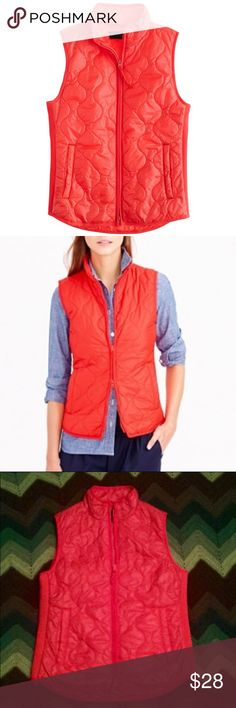 """JCrew layering vest w/primaloft orange red coral J. Crew layering vest. Features double zip front closure, welt open pockets, stand up collar. Nylon filled with Primaloft, super warm but ultra light without bulk. Lined. Machine wash. Excellent used condition without any visible wear. Beautiful shade of orange, almost red, like a bright bittersweet or coral. Size small. Measures approximately 18"""" armpit to armpit, 22.5"""" shoulder to hem (slightly longer in the back, 23.5"""") 🍂🍂🍂 THANK YOU for…"""