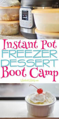 This Instant Pot Freezer Dessert Boot Camp has all you need to prep 5 desserts for the pressure cooker: printable recipe labels, a grocery list, and full prep instructions!  These sweet recipes are so easy and delicious.  Great time saver! via @lambertslately