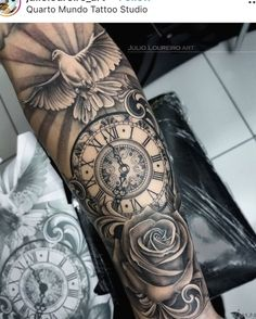 Clock Tattoo Sleeve, Clock And Rose Tattoo, Half Sleeve Tattoos Forearm, Lion Tattoo Sleeves, Cool Wrist Tattoos, Wrist Tattoos For Guys, Best Sleeve Tattoos, Tattoo Clock, Rose Clock
