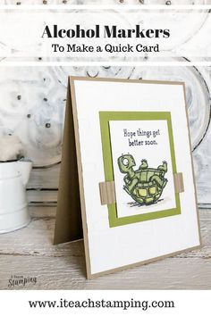 A Funny Get Well Card - Make this adorable card using Stampin Blends or alcohol makers with these fun stamps from Stampin Up and help someone feel better right away! Quick Cards, Cute Cards, Feel Better Cards, Funny Get Well Cards, Alcohol Markers, Cute Images, Free Paper, A Funny, Greeting Cards Handmade
