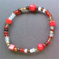 Red/gold stretchy bracelet ... so pretty and easy to wear