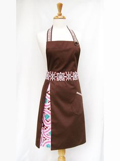 Lucille Apron for Ladies  Brown Paisley by CrumbDesigns on Etsy, $63.00