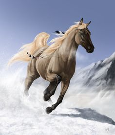 So here it is: my first horse done from my imagination with full background. It could be better but right now I have no idea how can I improve it. As you can see it's the horse from my tutorial. Bu...