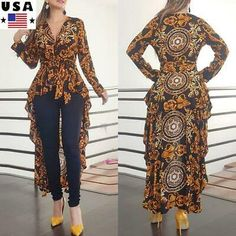 diamon·d Women's High-Low Irregular Drag Waist Top V-Neck Long Sleeve Printed Ruffle Belt Dress Shirt Blouse African Fashion Dresses, Fashion Outfits, Style Fashion, Fashion Women, Bohemian Blouses, V Neck Blouse, Ruffle Blouse, Belted Dress, Stylish Dresses