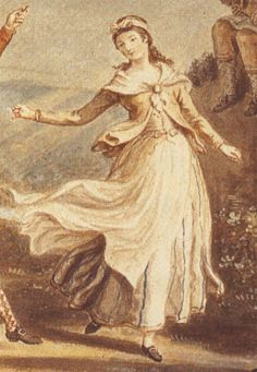 """Another girl from the """"Highland Dance"""":  She is wearing a white petticoat with thin blue stripes, an apron, a tobacco brown shortgown or jacket, a neckerchief, possibly fastened with a round brooch, and what is probably a vest."""
