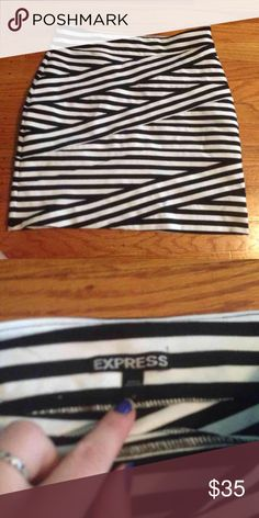 "Express bandage skirt sz small like new Never worn!  Adorable skirt. About 17"" from top to bottom. 70% polyester. 25% nylon. 5% spandex.  Smoke and pet free home Express Skirts Mini"