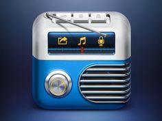 skeuomorphism metal icon, radio