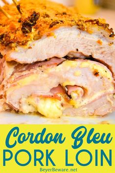 Cordon bleu pork loin recipe is stuffed full of ham and swiss cheese rolled up in a creamy mustard sauce and encrusted in a parmesan crust for an outrageously good low-carb pork loin entree. Keto Pork Loin Recipe, Easy Pork Loin Recipes, Sirloin Recipes, Ham Recipes, Cooker Recipes, Sauce For Pork Loin, Dinner Recipes, Roast Recipes, Yummy Recipes